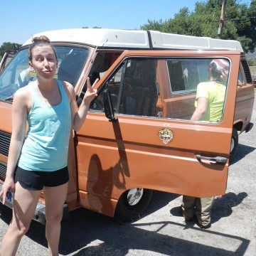 My first ride in a Westfalia Vanagon - Southern California. I'd say I was feeling the hippie vibes back then already...