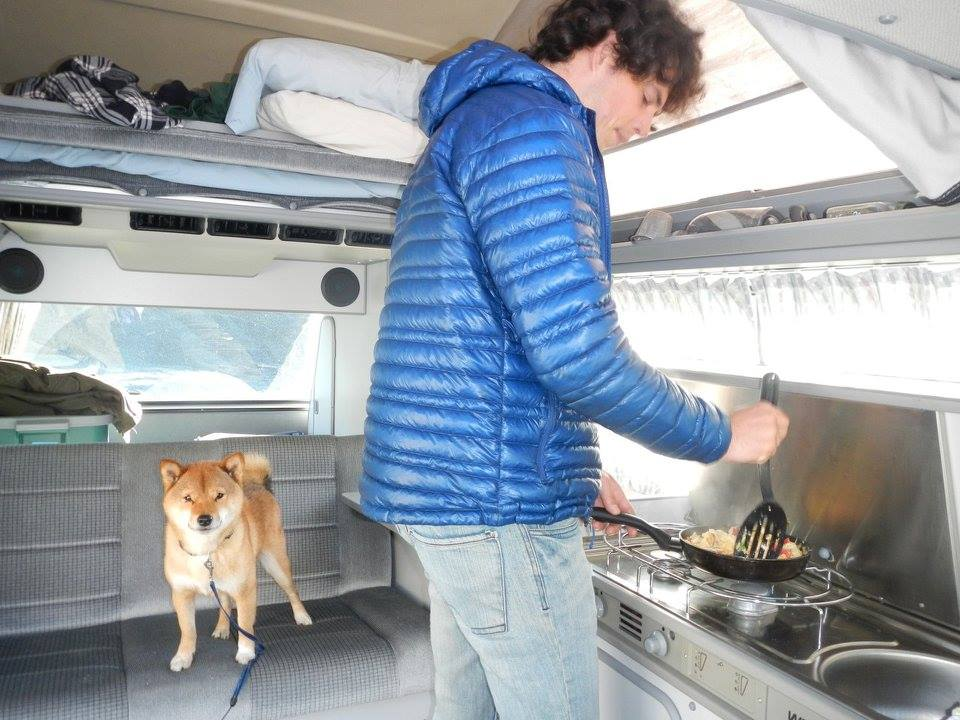 My man, cooking me some eggs for breakfast. And of course, Sitka - the van pup