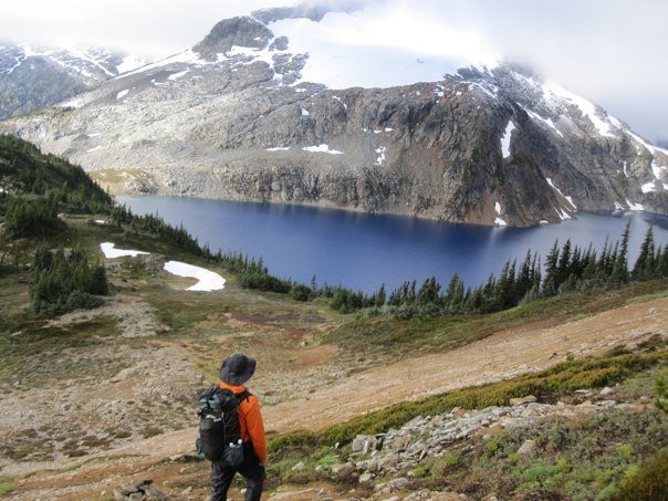 Dan and Tundra Lake on the Stein Valley Traverse 2010